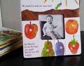 Very Hungry Caterpillar - He Started to Look for Some Food - nursery art picture frame - recycled children's book