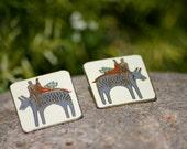Laurel Burch earrings, Mask earrings, face earrings, tribal earrings, Earrings,Laurel Burch, Enamel Equestrian Earrings / 80s Earrings