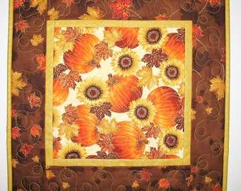 Autumn Table Topper, leaves, pumpkins,sunflowers, Thanksgiving, metallic, quilted, fabric from Hoffman