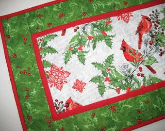 Christmas Table Runner, Cardinals, Holly, birds, quilted, fabric from Windham