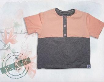 Polo Shirt Baby Organic cotton peach/grey short sleeve