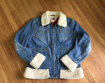 Vintage 1980s 1990s TOMMY HILIFIGER Blue Denim Fleece Lined Jean Jacket