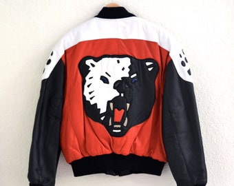 80s Bear Leather Jacket by Michael Hoban North Beach Where M I// Vintage Bomber Black Red Leather Jacket Medium Large