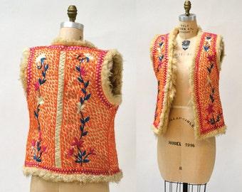 SALE Vintage Embroidered Shearling Vest// 70s Shearling Embroidered Sheepskin Vest Fur Boho TIBETAN Afghan Jacket Tribal Vest Small Medium