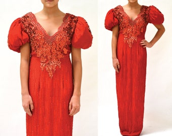 90s Vintage Red Sequin Dress Size Small// 90s Red Sequin Evening Gown Dress size Small Pageant Dress Silk Gown
