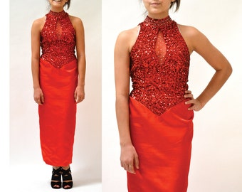 80s Vintage Red Sequin Dress XS Small// Vintage Red Sequin Evening Gown Dress size prom Dress By Mike Benet SIze Small