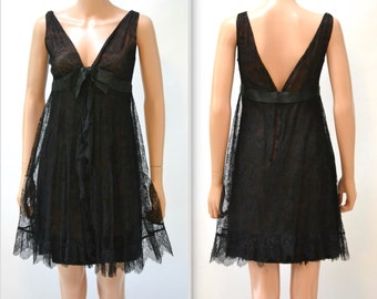 60s Black Dress Size Small Lace Baby Doll Party Dress// Vintage Black Lace Baby Doll Dress Size Small 60s Vintage Prom Dress Size Small