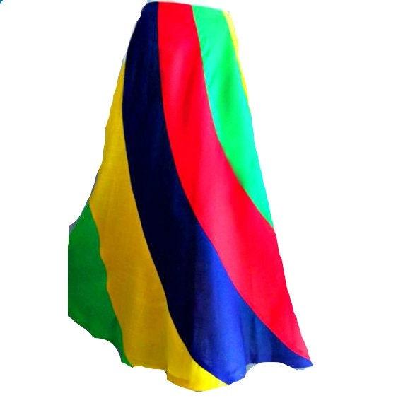 70s Vintage Rainbow Twirl Linen Festival Maxi Swing Skirt Boho Semi Sheer Coachella Free People Woodstock deadstock S M