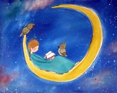 "11x14 Print Girl in the Moon ""Late Night Reading"" Kids Wall Art Whimsical Owl Childrens Room Decor Storybook Style Artwork for Baby"
