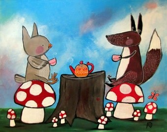 Woodland Tea Party Original Acrylic Painting, Fox and Owl  Kids Wall Art, Whimsical Animals, Red Toadstools, Nursery Decor, Childrens Art