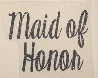 BRIDAL PARTY iron-on decals cursive font (Bridesmaid, Mother of the Bride, Maid of Honor, Matron, etc)