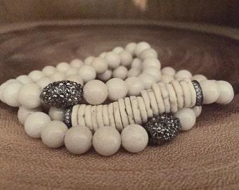 Natural bone stackable bracelets