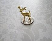 Gold Three Quarter Inch Miniature Reindeer, Gold Diorama Dollhouse Deer, 5 Christmas Miniature Reindeer, Xmas Village Diorama Dollhouse