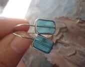 OLD BLUE GLASS - long hook earrings (1781)