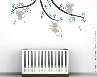 Etsy Baby Monkey Wall Sticker Monkey Tree Branches by Little Lion Studio - Warm Gray, Dark Brown, Turquoise
