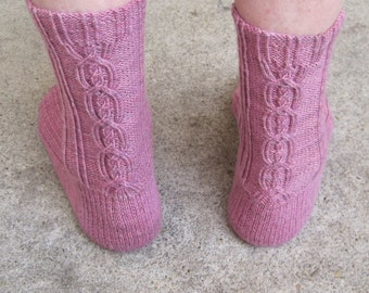 Knit Sock Pattern:  My First Alpine Cable Sock Knitting Pattern