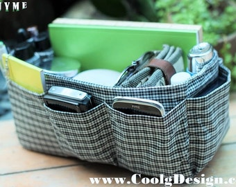 Purse organizer insert multi-pocket for handbag black white plaid Large 25x10 cm