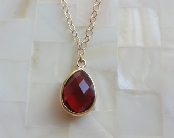 Step Cut Faceted Ruby Red Quartz Vermeil Bezel Pear Pendant on Gold Chain Necklace (N1689)
