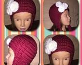 Crochet Hat, Red Hat, Crochet Floral Hat, Child Hat, teen hat, adult crochet hat