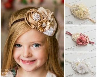 Baby headband,Newborn Headband,Christmas headband,Flower Headband,Ivory Headband,rhinestone headband, White baby headband, Toffee Headband