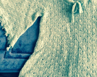 Crochet sweater full half sleeves/open weave/Medium, may fit large/ties in front/unfinished hem/soft/Club soda label