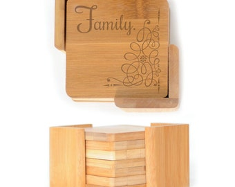 Wooden Square Coasters - Set of 6 with holder - 2565 Family