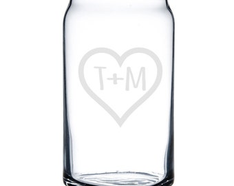 Personalized Beer Can Glass 16 oz. - 8797 Initials in Heart Personalized