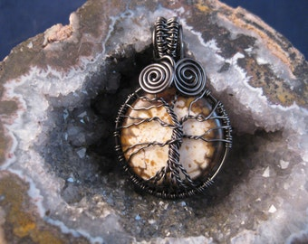 Tree of Life wire wrapped pendant with dragon agate