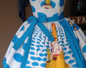 Custom made to Order Yellow submarine Sweet heart pin up geekery dress