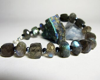 Labradorite Bracelet - Wear the Northern Lights on your Wrist - Size Large - Ready to Ship