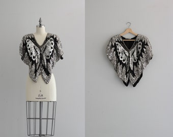Vintage Sequin Butterfly Top . Black and Silver Boho Top . Silk Sequined Blouse