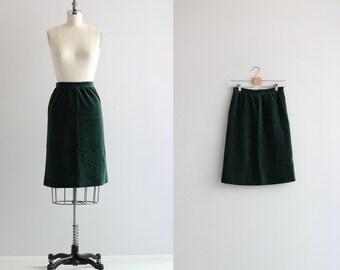 Vintage Pencil Skirt . Forest Green 50s Skirt . Retro Wiggle Skirt
