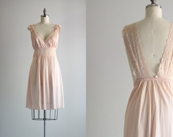 Blush Pink Lace Nighty . Retro Lingerie . Short Nightgown