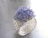 Tanzanite Ring, Fine Silver Wire Crochet Ring, Gemstone Jewelry, Cluster Ring