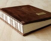 wedding guest book with black walnut wood covers custom fall wedding personalized vacation home cabin keepsake journal memory made to order