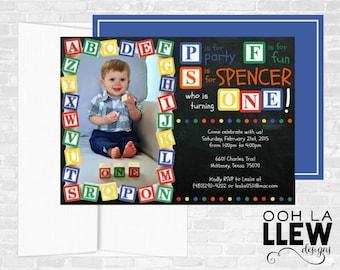 Chalkboard ABC Alphabet Block Birthday Party Invitation Primary Colors
