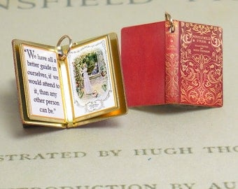 Mansfield Park by Jane Austen - Miniature Book Charm Quote Pendant - for charm bracelet or necklace. Custom available!