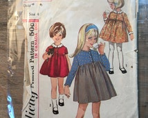 1965 Simplicity Sewing Pattern 6211 Girls Child Button Bodice Dress size 4-cut- girls pattern, girls dress pattern, 1960s pattern, jumper