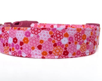 Pink and Orange Dog Collar / Heart Dog Collar  / Flower Dog Collar / Girl Dog Collar / Dog Collar with Flowers / Pink Dog Collar