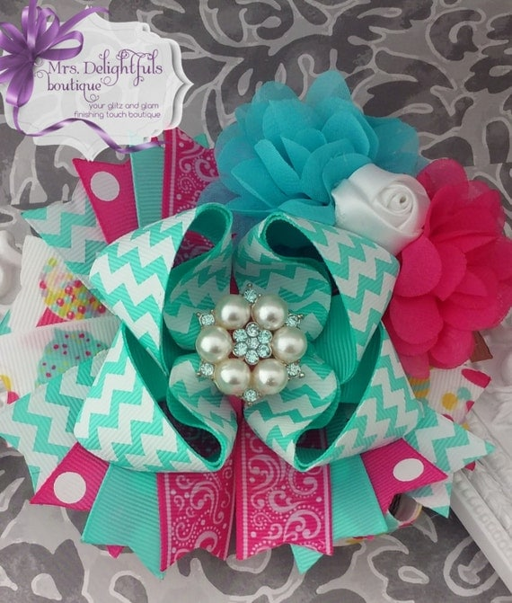 pink boutique bow, Valentine's bow,stacked bow, baby bow, hair bow, accessories, hair clip, heart bow , pink bow, red bow, layered bow
