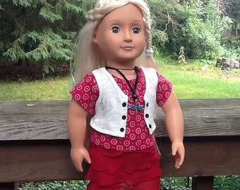 20% OFF - Red Ruffled Skirt, Shirt and Vest Outfit for 18 Inch Doll like American Girl, girl gift, girl toy, dragonfly doll necklace