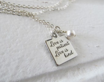 "Love Charm Necklace- ""Love is patient Love is kind"" laser etched charm with an accent bead in your choice of colors"