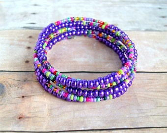 beaded bracelet, memory wire bracelet, purple jewelry, boho, bohemian, bead bangle
