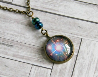 star pendant, photo jewelry, pendant necklace, galaxy pendant, glass pendant, gift for her