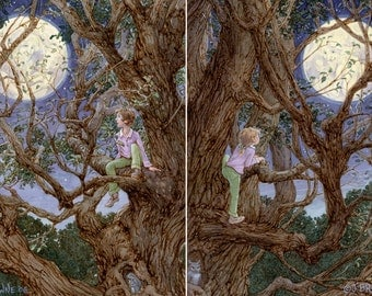Man in the Moon I and II 8.5x11 Signed Print set of 2