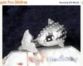 ON SALE Sterling Silver Whale Ring Size Adjustable 7.5-10