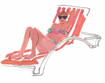 Woman with Sunglasses- Gouache Painting-Art print