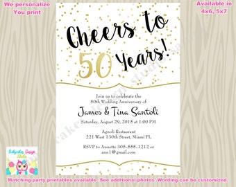 50th wedding anniversary invitation invite cheers to 50 years invitation 50th birthday invitation black gold printable - 50th Wedding Invitations
