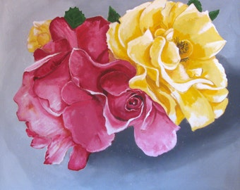 "Uncensored Roses 3, Huge Flowers, Fuchsia, Yellow, Original Large size Painting, Home Decor Wall Art, 46x56"", Free Shipping in USA."