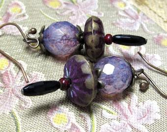 Funky Upcycled Earrings. Distressed Purple Drop Earrings. Handmade Beaded Earrings.